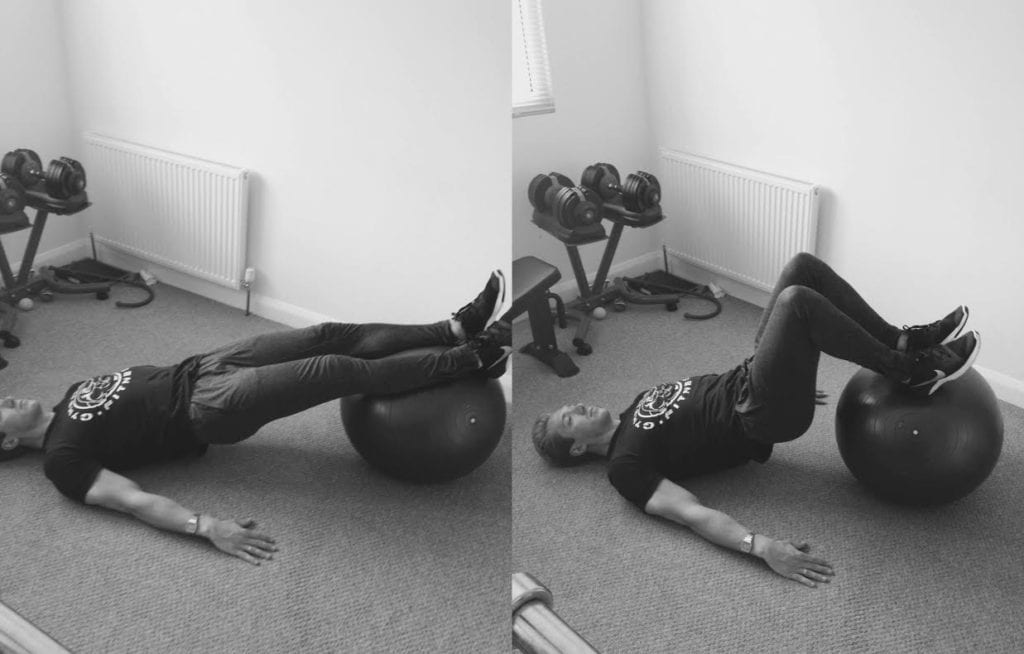 Hamstring curl on fitness ball