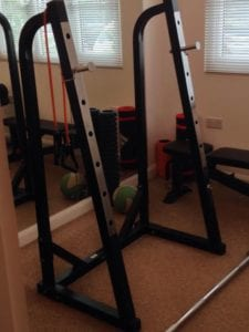 squat rack in home gym