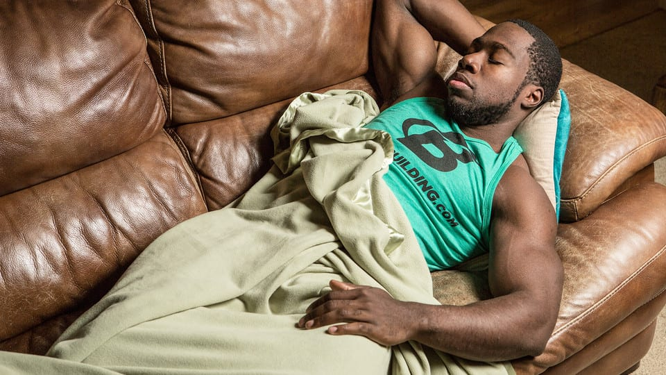 bodybuilder sleeping
