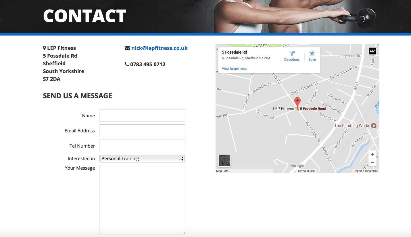 contact page for LEP Fitness sheffield
