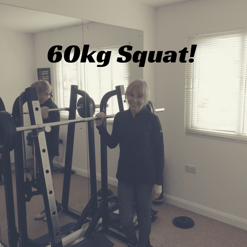 Julie reaches her squat goal of 60kg!