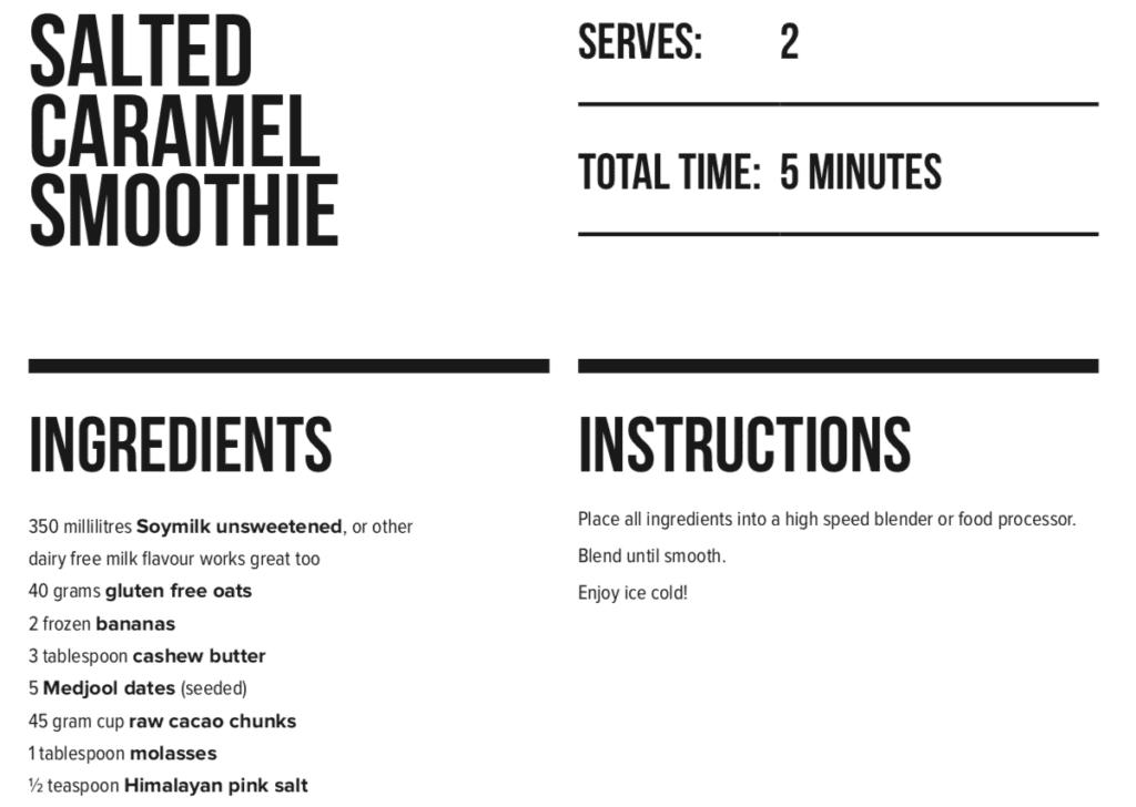Salted Caramel Smoothie | LEP Fitness